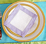 Cocktail Napkin.Fashions Designer.White Sweet Lavender border