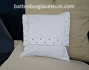 Envelope pillows. FRENCH ROAST Swiss Polka dot. 12inches.