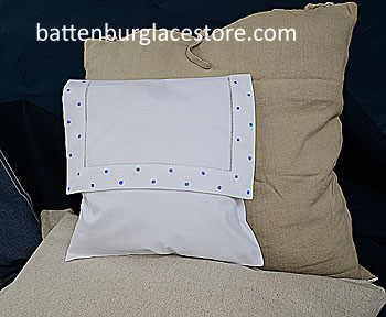 Envelope Pillow. FRENCH BLUE Swiss Polk dots. 12 inches.