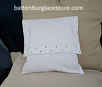 Envelope Pillows. Swiss Polka dot MINT GREEN color.12 inches.