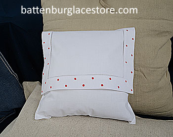 Envelope Pillow. Swiss Polka dots. TRUE RED color.12 in.