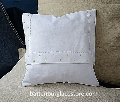 Envelope pIllow. MACAW GREEN Swiss Polka dots. 12 inches.