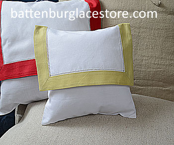 Envelope pillow. Baby 8 inches Square. White with Tarragon color