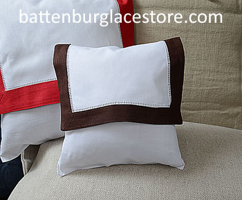 Envelope Pillow.Baby size 8 in. White with French Roast color.