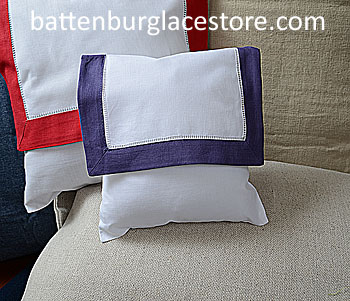 Envelope Pillow.Baby Size 8 in. White with Imperial Purple Trim.