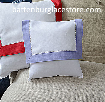 Envelope Pillow.Baby size 8 in. White with SWEET LAVENDER trim.