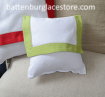 Envelope Pillow.Baby size 8 in. White with MACAW GREEN Trim.