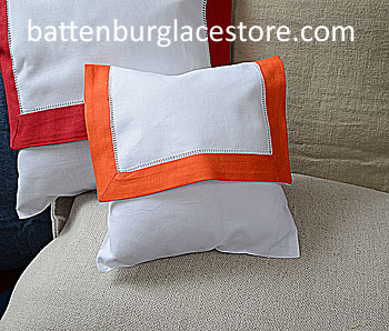 Envelope Pillow.Baby size 8 in. White with ORANGE color border