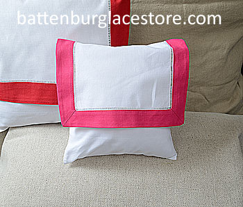 Envelope Pillow.Baby size 8 in. White with RASPBERRY SORBET Trim