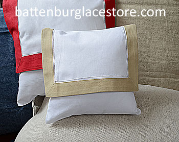 Envelope Pillow.Baby size 8 in. White with SAFARI color trims.
