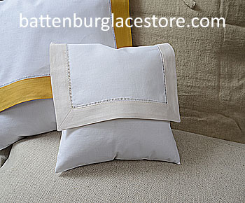 Envelope Pillow.Baby size 8 in. White with SHELL / IVORY trim.