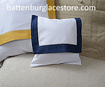 Envelope pillow.Baby size 8 in. White with TRUE NAVY color trims