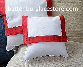 Envelope Pillow.Baby size 8 in. White with TRUE RED color trims.
