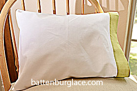Baby Pillowcases 13 in by 17 in. White Celery Green. Set of 2
