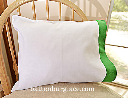 Baby Pillowcases 13x17in.White Mint Green. Set of 2