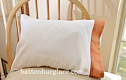 Baby Pillowcases.13x17in.White Raw Sienna trim. Set of 2