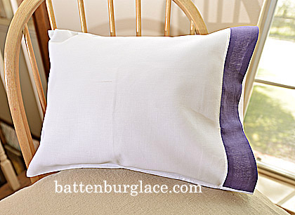 Baby Pillowcases.13x17in.White with Violet trim. Set of 2