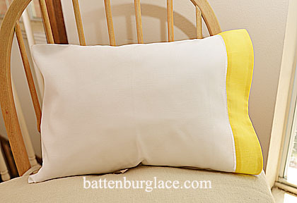 Baby Pillowcase 13x17in. White with Aspen Gold. Set of 2