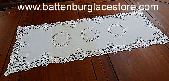 "Extra Fancy 3 circles Battenburg Lace runner 16""x40"" White"