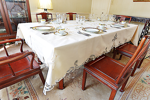 "Canterbury Battenburg Lace Tablecloth. 70"" x 90"" Pearled Ivory"