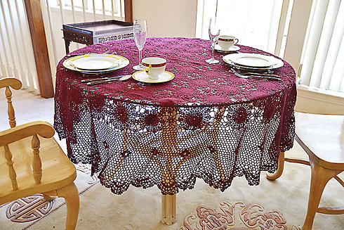 "Festive Crochet Round Tablecloth. Rhododendron color. 70""RD"