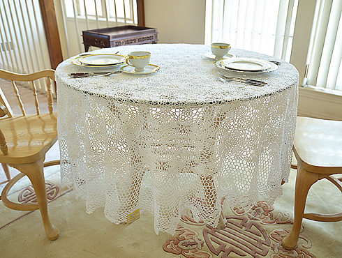 Crochet Tablecloth 90x90in Round.Sun Flower Crochet W