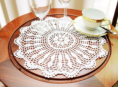 "Crochet Round Placemat. 16"" Round. White color. 2 pieces pack"