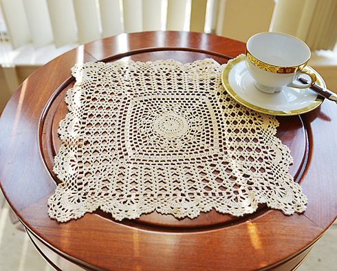 "square crochet placemat. 13"" square. Wheat color. 1 pieces."