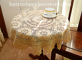 Tablecloth Round Topper. 32 inches Round. Wheat color