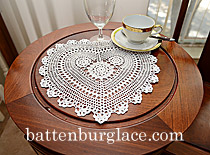 "Heart Crochet.Sun Flowers Design. Whtie 13"" (2 PCS)"