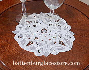 "Round doilies. Christina Crystal Lace. 10"" Round. White.6 pieces"