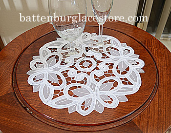 "Round Doilies.Christina Crystal Lace. 12"" Round. White. 2 pieces"