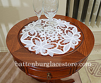 "Round Doilies. Christina Crystal Lace 14"" Round. White. 2 pieces"