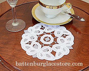 "Round Doilies. Christina Crystal 6"" Round. White. 12 pieces"
