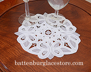 "Round Doilies. Christina Crystal Lace. 8"" Round. White. 6 pieces"