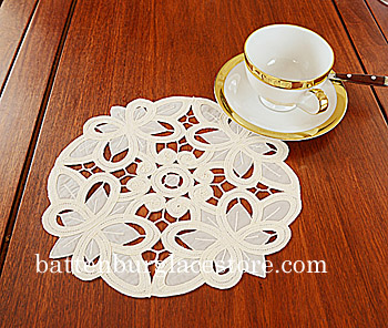 "Round Doily. Christina Crystal Lace.10"" Round. Pearled Ivory. 6"