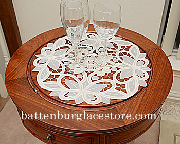 "Round Doily. Christina Crystal Lace. 14"". Pearled Ivory. 2 pcs."