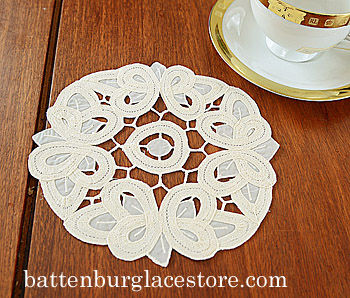 "Round Doily. Christina Crystal Lace. 6"". Pearled Ivory color. 12"