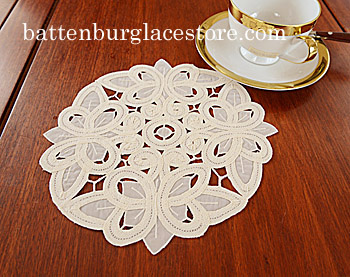 "Round Doily. Christina Crystal Lace 8"". Pearled Ivory. 6 pieces."