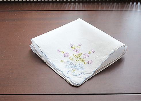Embroidered Cotton handkerchief Lavender Rose #1103