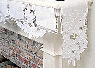 "Fireplace Mantel Scarf. Imperial Embroidery. 120"" by 25"" White"
