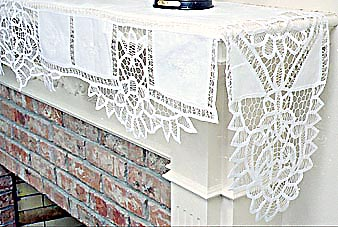 "Fireplace mantel. PA Battenburg Lace 120""x25""drop. White"
