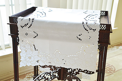 "Fancy Hand Embroidery Grace Style Table Runner. 18"" x 72"". White"
