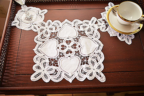 Happy Hearts Squae Battenburg Lace doilies.10x10in. 6pcs