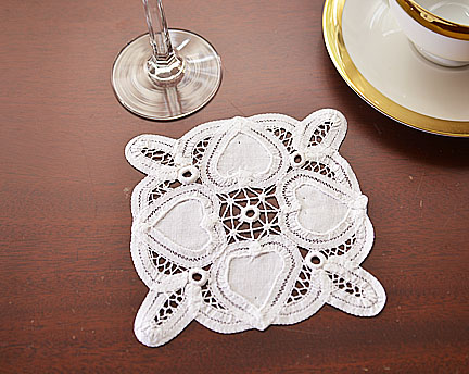 Battenburg Lace doilies. Happy Hearts Square. 5x5in. Square12pcs