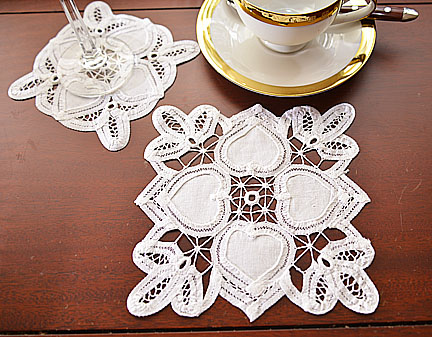 Happy Hearts Square Battenburg Lace doilies. 7x7in. 12pcs