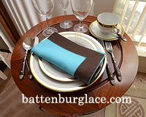Dinner Napkin. Color over colors.Aqua French Roast border.Each.
