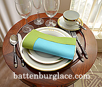 Dinner Napkin.Aqua Blue with Macaw Green color border.Each.