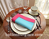 Dinner Napkin. Aqua Blue with Raspberry Sorbet border.Each.