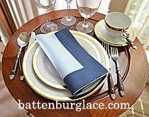 Dinner Napkin.Baby Blue with Navy Blue border. Each.